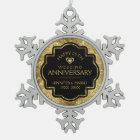 Gold Black 50th Wedding Anniversary Snowflake Pewter Christmas Ornament