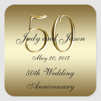 Gold Black 50th Wedding Anniversary Square Sticker