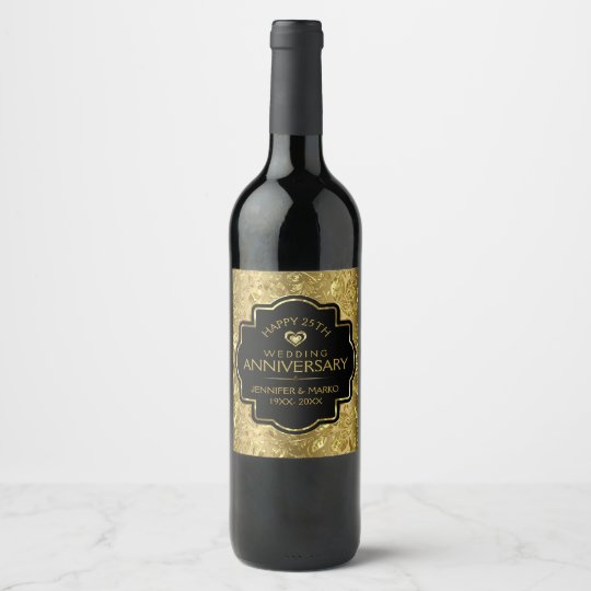 Gold & Black 50th Wedding Anniversary Wine Label