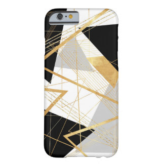 Gold, Black and Gray Geometric Abstract Design Barely There iPhone 6 Case
