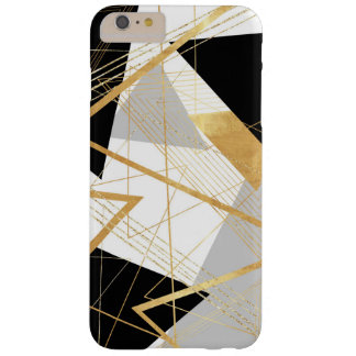 Gold, Black and Gray Geometric Abstract Design Barely There iPhone 6 Plus Case