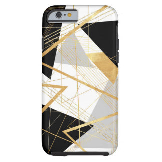 Gold, Black and Gray Geometric Abstract Design Tough iPhone 6 Case