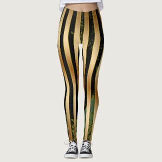 Gold, Black and Green. Leggings