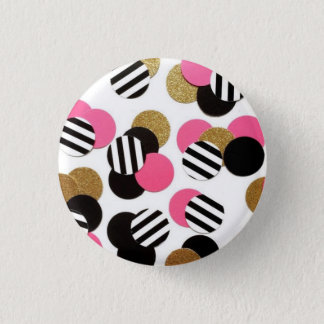 Gold, Black, and Pink Dot Button