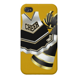 Gold Black and White Cheerleader Cover For iPhone 4