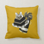 Gold Black and White Cheerleader Pillow