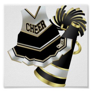 Gold Black and White Cheerleader Poster