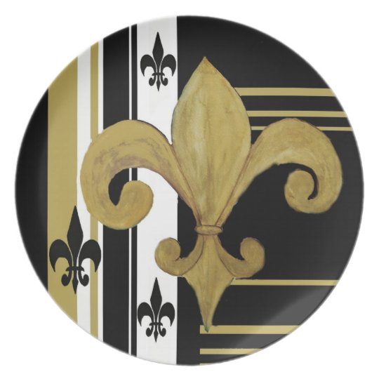 Gold, Black and white fleur de lis plate