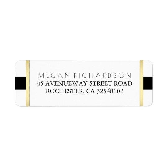 Gold Black and White Wedding Return Address Label