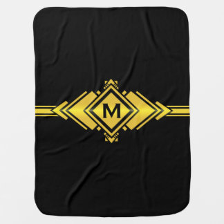 Gold & Black Art Deco Belt Monogram Baby Blanket