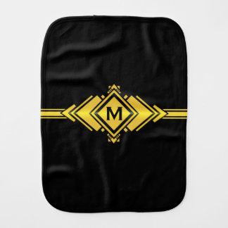 Gold & Black Art Deco Belt Monogram Burp Cloths