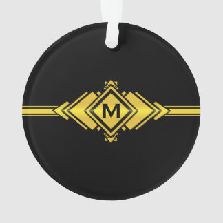 Gold & Black Art Deco Belt Monogram Ornament
