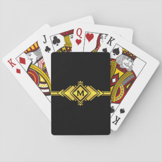 Gold & Black Art Deco Belt Monogram Playing Cards