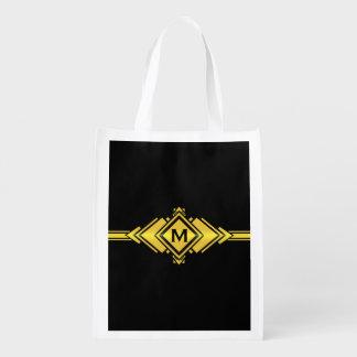 Gold & Black Art Deco Belt Monogram Reusable Grocery Bag