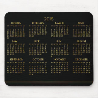 Gold Black Art Deco Yearly Calendar 2016 Mousepad
