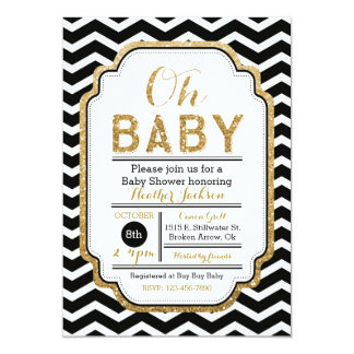 Gold & Black Baby Shower Invitation, Boy Baby Card