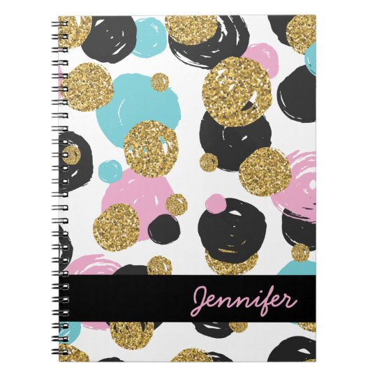 Gold Black Blue Pink Glam Dots Notebook