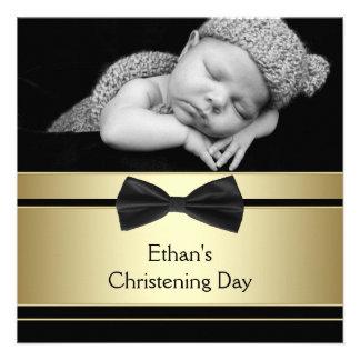 Gold Black Bow Tie Baby Boy Photo Christening Custom Invitations