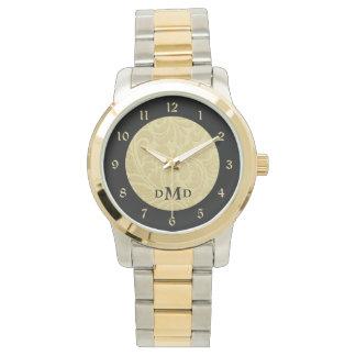 Gold Black Brocade Monogram Watches