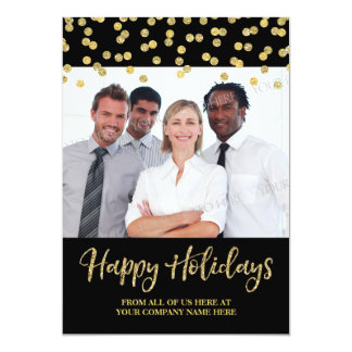 Gold Black Business Christmas Photo Card Confetti
