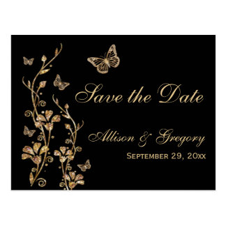 Gold, Black Butterflies Save the Date Postcard