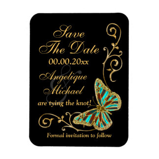 Gold black butterfly wedding party flexible magnet