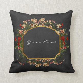 Gold Black Chalkboard Baroque Vintage Flower Cushion