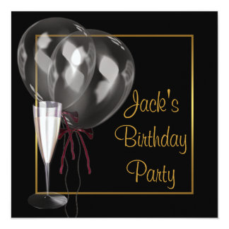 Gold Black Champagne Mans Birthday Party 13 Cm X 13 Cm Square Invitation Card