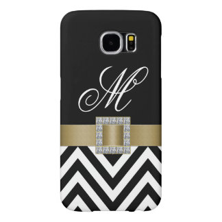 GOLD BLACK CHEVRON MONOGRAM SAMSUNG GALAXY S6 CASES