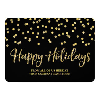 Gold Black Confetti Christmas Cards Business