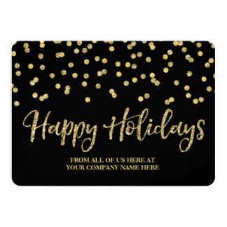 Gold Black Confetti Christmas Cards Business 13 Cm X 18 Cm Invitation Card