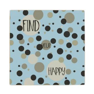Gold Black Confetti Dots Happy Wood Coaster