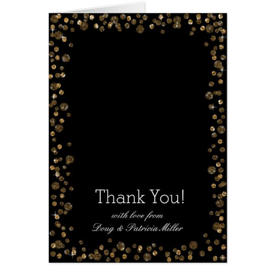 Gold Black Confetti Dots Thank You Card