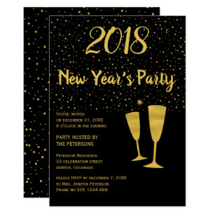 Gold black confetti New Year's celebration invite