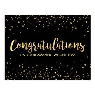 Gold Black Congratulations Weight Loss Award Postcard
