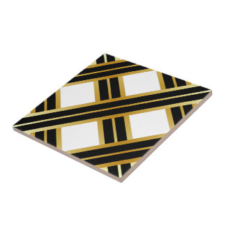 Gold Black Criss Cross Pattern Tile