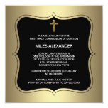 Gold Black Cross Boys First Communion Personalized Invites