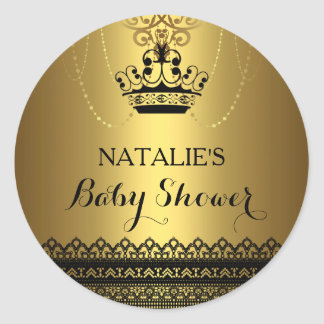 Gold & Black Crown Baby Shower Sticker