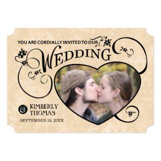 Gold & Black Custom Photo Heart Wedding Invite