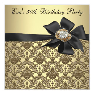 Gold Black Damask 50th Birthday Party 13 Cm X 13 Cm Square Invitation Card