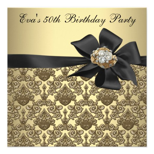 Gold Black Damask 50th Birthday Party Custom Announcement