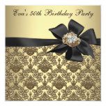 Gold Black Damask 50th Birthday Party Custom Announcements