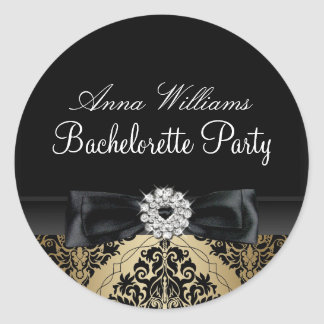 Gold & Black Damask Bachelorette Party Sticker