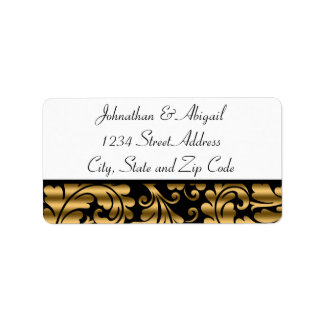 Gold Black Damask Pattern Address Label