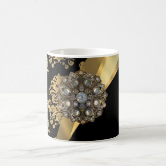 Gold & black damask pattern coffee mug