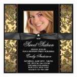 Gold Black Damask Photo Sweet 16 Party 13 Cm X 13 Cm Square Invitation Card