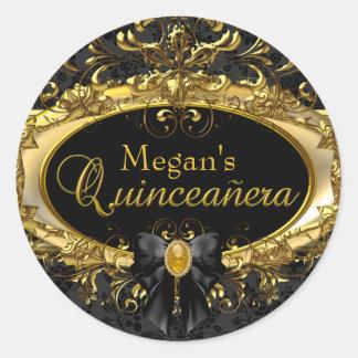 Gold & Black Damask Quinceanera Sticker