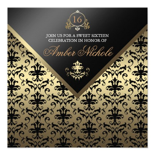 Gold & Black Damask Sweet 16 Invite