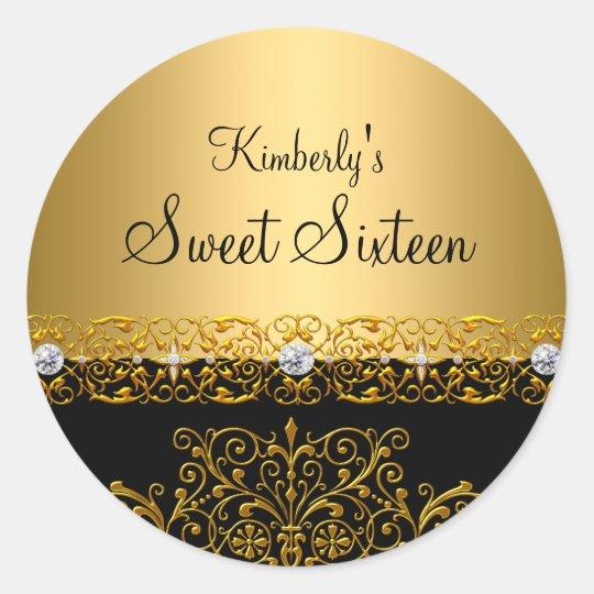Gold & Black damask Sweet Sixteen Sticker