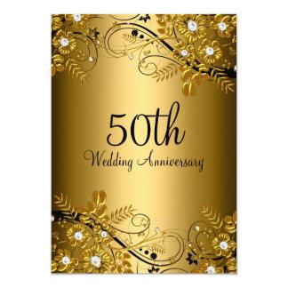 Gold Black Diamond Floral Swirl 50th Anniversary 13 Cm X 18 Cm Invitation Card